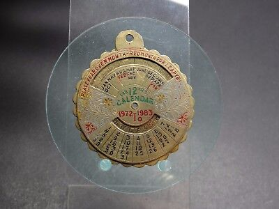 Drehbare Metallscheibe Kalender für 12 Jahre 1972 - 1983 Anhänger