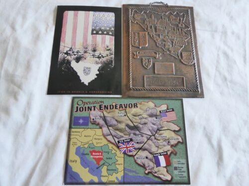 US OPERATION JOINT ENDEAVOR LOT OF METAL WALL MAP & 2 UNUSED POSTCARDS