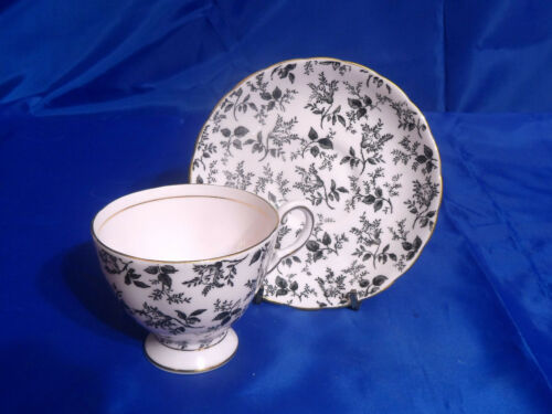 Vtg TUSCAN CUP & SAUCER - Pink Background, Black Leaves, Gold Ring/Trim/Accents