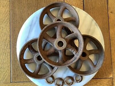 Antique Cast Iron 5 Curved Spoke Wheels Set Of 4 Gas Engine Hit Miss Steampunk