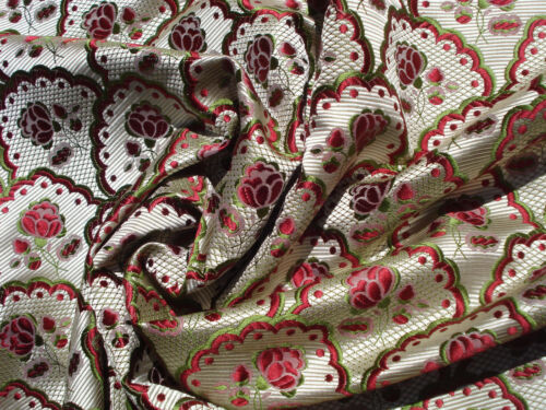 antique french pearly white 18 th c style silk brocade with tiny red roses