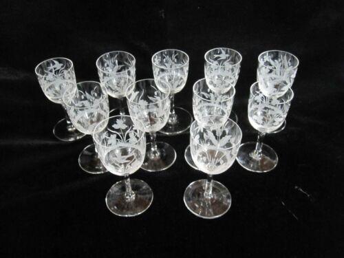 "SET 11 ANTIQUE VICTORIAN EDWARDIAN FINE ENGRAVED CRYSTAL CORDIAL GLASSES 3 1/8"""