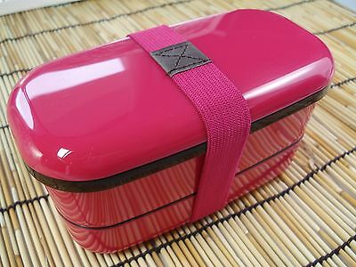 New! Japanese Bento Lunch Box & Belt 2 tier Pink 500ml Japan Import! F/S