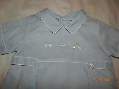 NWOT Boutique Little Diamonds Boys 6 Mo Blue Car Hand Embroidered Shortall SWEET