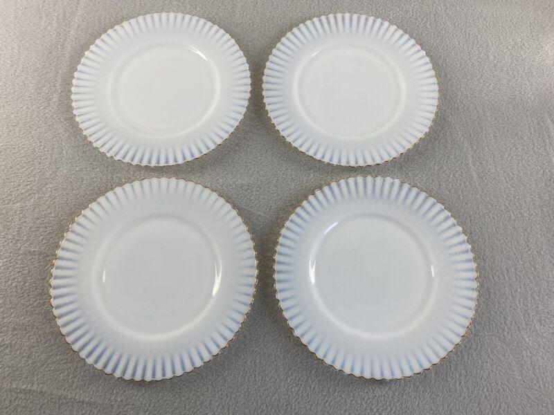 "Macbeth Evans Petalwear White Monax Gold Trim Salad Plate 8"" Lot of 4"