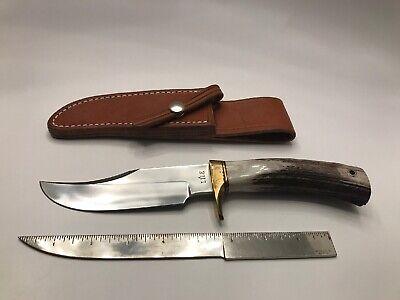 "VTG JIMMY LILE Arkansas USA Stag KNIFE Model 19 10"" NOS w/ Original Sheath"