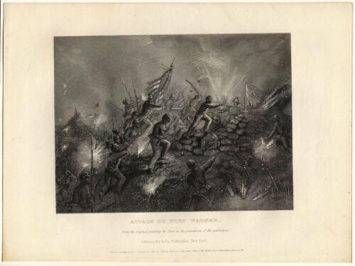 ATTACK ON FORT WAGNER, 54th Massachusetts/Robert Gould Shaw/Civil War Print 9111