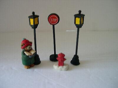 Miniature Christmas Figures Bear Caroler Lamp Posts Stop Sign Fire Hydrant 5pcs