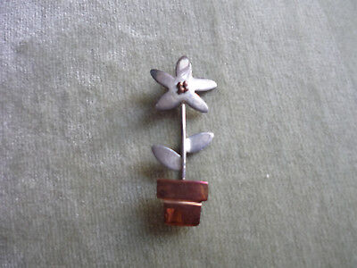 SWEET LITTLE FLOWER POT PIN OF COPPER & STERLING SILVER/ A & J.H./ MEXICO for sale  Greenville