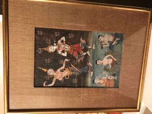 Antique 1800's BUDDIST Thai manuscript art Illuminated PAINTING Samut Khoi