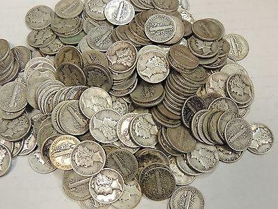 Lot of TEN (10) Mercury Dimes (1916-1945) - FREE SHIPPING!
