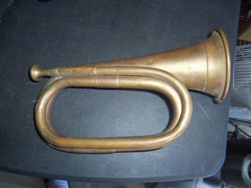 "Antique Copper Brass Bugle 11"" Nice  LOOK!"