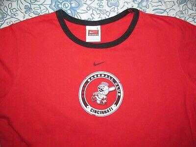 Cincinnati Reds Mr. Baseball Juniors L Large red ringer NIKE T shirt 17 x 24 - Ladies Baseball Ringer T-shirt