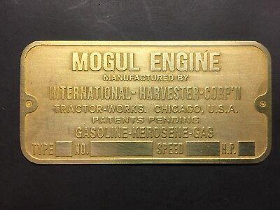 New Ihc International Harvester Mogul Brass Data Tag Antique Hit Miss Gas Engine