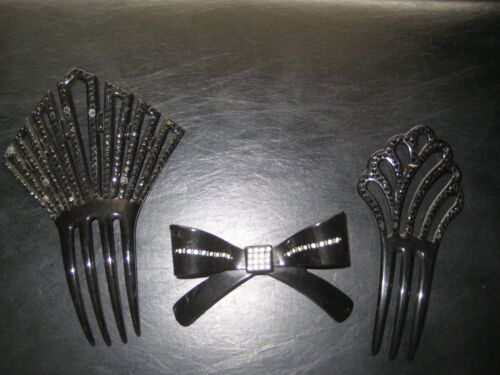Antique Vintage/Collectable Ornate Hair Combs Haircomb Black  Lot of 3