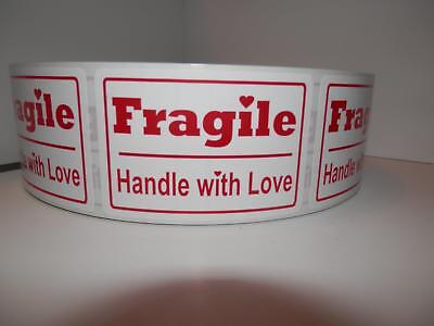 Fragile Handle With Love 2x3 Red Text White Bkgd Warning Sticker Label 250rl