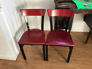 Solid metal and wooden chairs. Seat 18 inches from floor