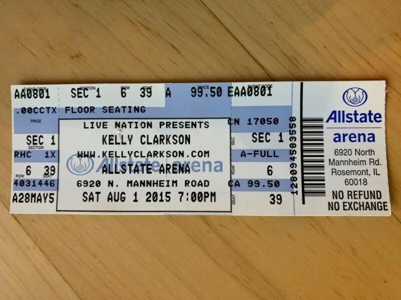 KELLY CLARKSON 2015 6TH ROW CONCERT TICKET (CHICAGO)