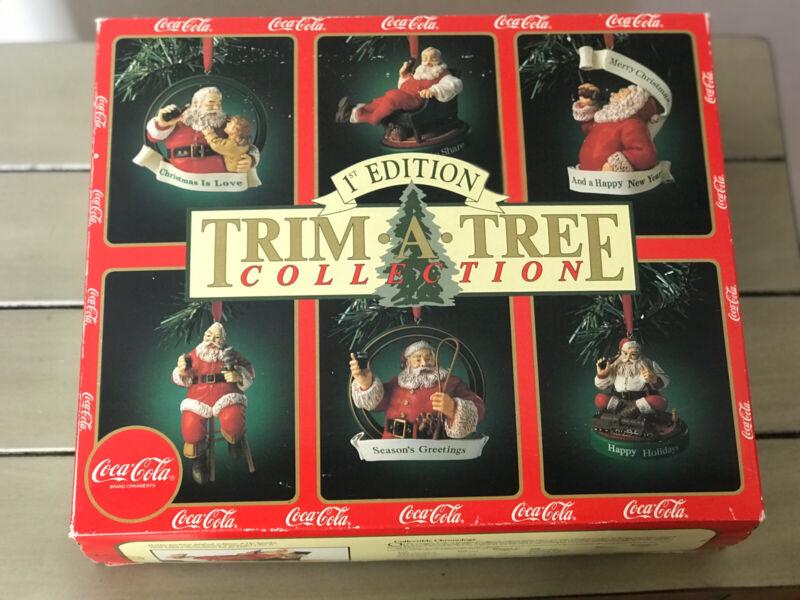 COCA COLA 1ST EDITION TRIM-A-TREE COLLECTION SANTA CHRISTMAS ORNAMENTS Vintage