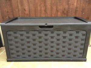 Starplast Rattan Style Black Garden Storage Box Patio With Sit on Lid Plastic