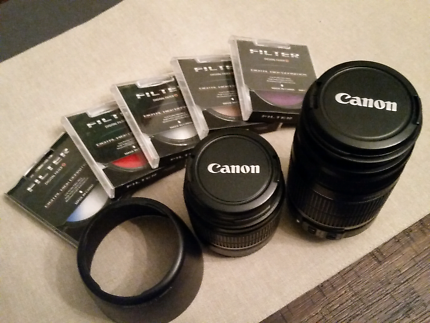 Canon EF 18-55 & 55-200mm IS lenses with hood & padded bag