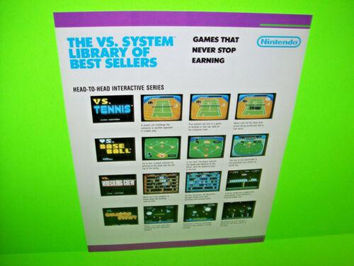 Nintendo VS System Titles 1984 Original NOS Video Arcade Game Promo Sales Flyer