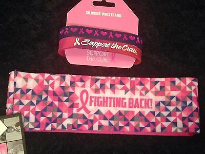 NWT Breast Cancer Awareness 2 Silicone Wristbands, 1 Fabric Headband Pink - Pink Wristbands