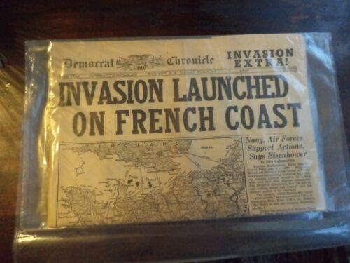 WWII NEWSPAPER INVASION LAUNCHED ON FRENCH COAST JUNE 6 1944 IN GOOD CONDITION