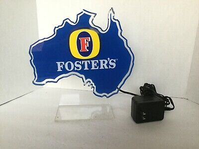 """Vintage Fosters Lager Light Up Advertising bar Sign approx 10"""" across 11"""" high"""