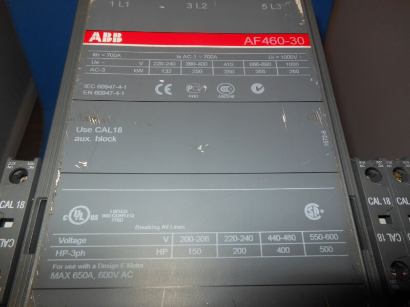 ABB ASEA BROWN BOVERI AF460-30 CONTACTOR 700AMP 3POLE 24 TO 60 VDC COIL
