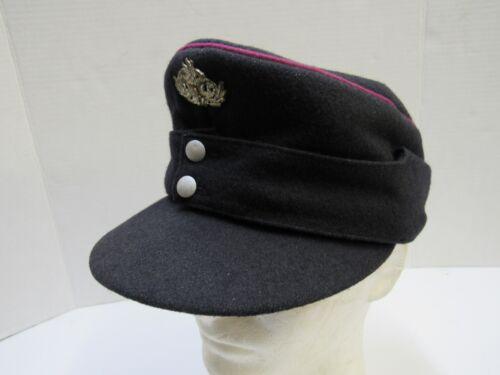 Original West German Firemans M43 Style Wool Hat Fire Service Damage to Sweatbnd