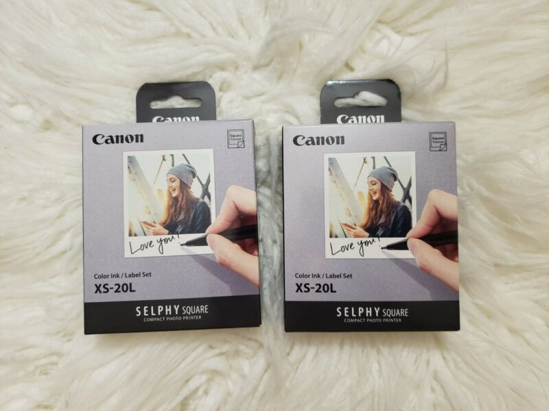 2x Canon XS-20L Color Ink & Label Photo Paper (20pcs) for Selphy Square **New**