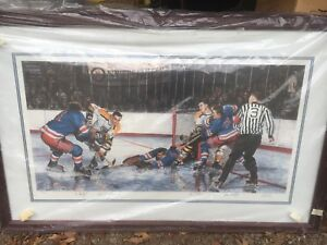 In the Slot Les Tait signed print hockey legends