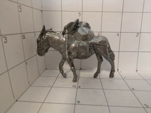 """Pewter Metal  Pack Mule ( Burro Donkey) over 3"""" by 2"""". 1/2 lb Nice detail"""