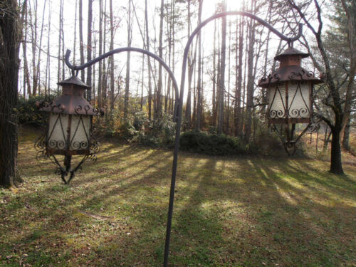 Vintage Spanish revival hanging lanterns sconce Gothic metal and glass pair (2)