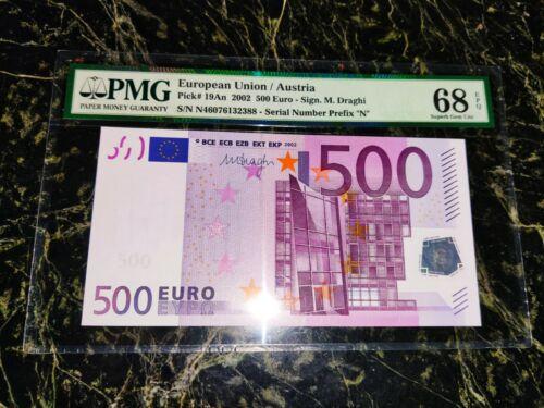 """EURO 500 BANKNOTE PMG 68 🇪🇺 M. DRAGUI AUSTRIA 2002 PREFIX """"N"""" ULTRA RARE TOP**"""