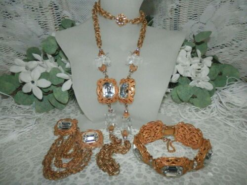 Majestic Miriam Haskell Rhinestone & Russian Gold Necklace Bracelet Brooch Set
