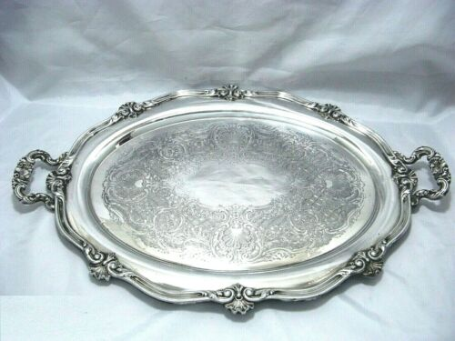 1945 REED & BARTON DECO NEOCLASSIC REGENT ACHANTUS CHASED ORNATE WAITER TRAY
