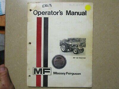 Massey Ferguson 135 Tractor Owners Maintenance Manual