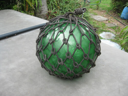 Japanese Glass Fish Floats - well worn Emerald tea rope- Large