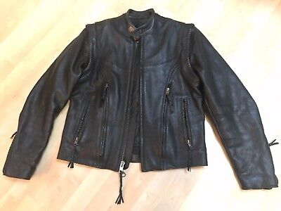 Womens Harley Davidson Willie G leather M jacket vest convertible vintage style