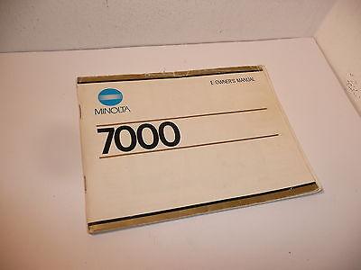 GENUINE MINOLTA 7000 AF SLR INSTRUCTION MANUAL