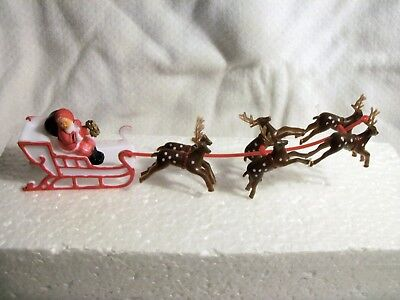 1 Santa & Sleigh Sled & 6  Reindeer Cake Decoration Topper Christmas or 3 Deer ()