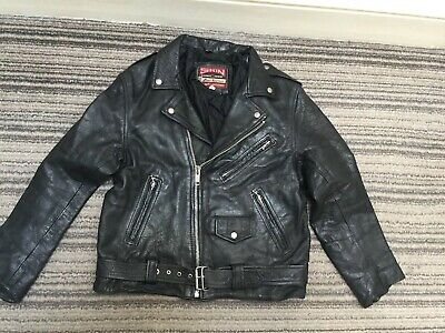 Skin Black Lined Leather Biker Motorcycle Jacket - Chest 44""