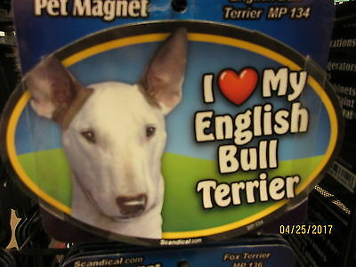 I Love My English Bull Terrier 6 inch oval magnet for car or anything metal  New