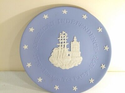 BOSTON TEA PARTY ~ WEDGWOOD BLUE JASPERWARE AMERICAN INDEPENDENCE PLATE for sale  Shipping to Nigeria