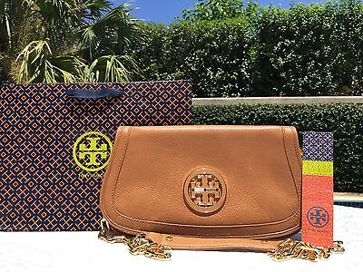 NEW TORY BURCH AMANDA LOGO CLUTCH ROYAL TAN (BROWN)  $350 NWT-WITH GIFTBAG-MINT!