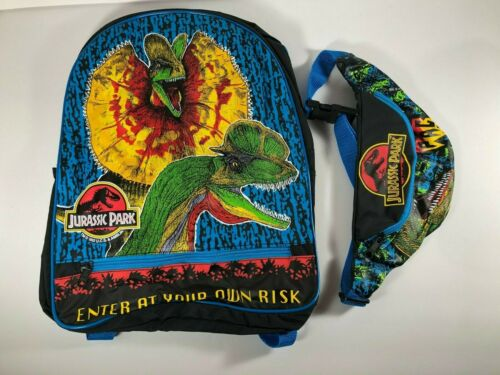 Jurassic Park Enter At Your Own Risk Backpack 1992 Raptor Pac FannyPack EUC Rare