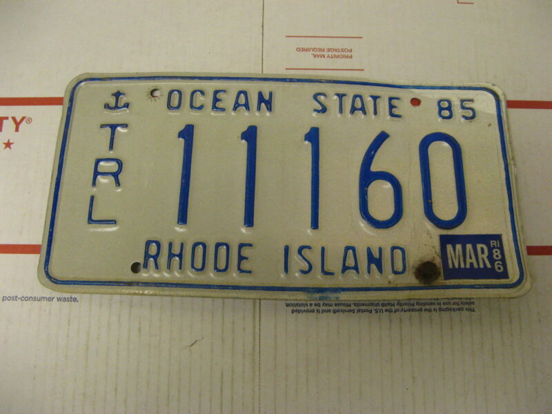 1985 85 1986 86 Rhode Island RI License Plate 11160 Trailer Ocean State
