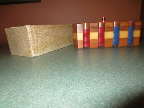 Vintage Polker Chips in Wooden Caddy/BakeLite Handle/Cardboard Cover +172 chips